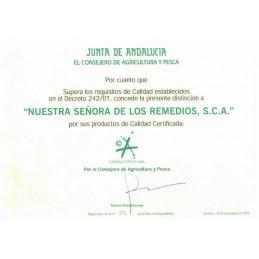 Certificat de calitate ulei de masline extravirigin spaniol emis de Guvernul regional Andaluzia.